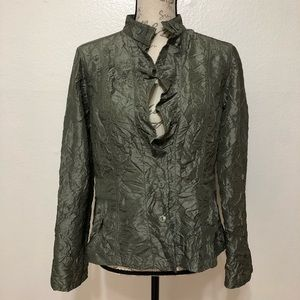 Chico's Olive Crinkle Blazer Adjustable Sleeves M